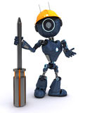 Android builder with a screwdriver. 3D Render of an android Builder with a screwdriver Stock Image