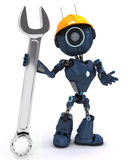 Android builder with a wrench Royalty Free Stock Image