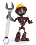 Android builder with a wrench Royalty Free Stock Images