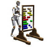 Android calculations on abacus. Abstract render of android carrying out calculations on abacus Royalty Free Stock Images