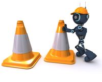 Android with caution cones Royalty Free Stock Photography