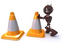 Android with caution cones Royalty Free Stock Photo