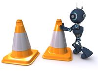 Android with caution cones Stock Images