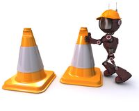 Android with caution cones Stock Photo