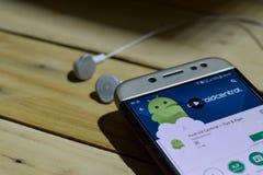 Android centrala - porad & Apps zastosowanie na Smartphone ekranie fotografia stock