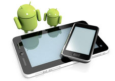 Android characters and devices Royalty Free Stock Photo