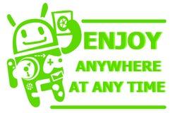 Android-Charakterkarikatur Illustration Lizenzfreie Stockbilder