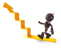Android climbing a graph stock illustration