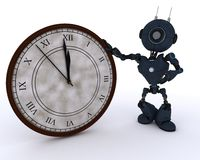 Android with clock before midnight Royalty Free Stock Photo