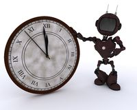 Android with clock before midnight Stock Image