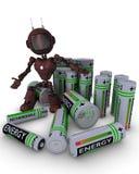 Android com baterias Foto de Stock Royalty Free