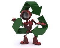 Android con el reciclaje de símbolo ilustración del vector