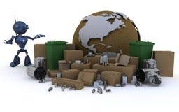 Android con el reciclaje del wast libre illustration