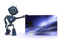Android con la tarjeta de crédito stock de ilustración
