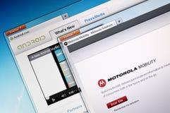 Android de Google e mobilidade de Motorola Fotografia de Stock