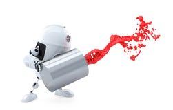 Android-de Robot giet de verf uit het blik. stock illustratie