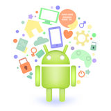 Android with different icons. Royalty Free Stock Image