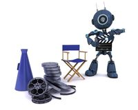 Android in directors chair with megaphone Royalty Free Stock Images