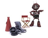 Android in directors chair with megaphone Royalty Free Stock Image