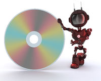 Android with DVD Disc Stock Photography