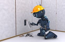 Android electrical contractor. 3D Render of an Android electrician Stock Photos