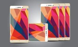 Android för färg för q-mobil Z12 guld- mobiltelefon Arkivfoton