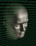 Android face penetrating a wall of binary code Royalty Free Stock Image