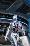 Android female robot walking. 3D render science fiction illustration Royalty Free Stock Images
