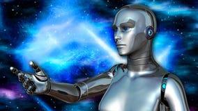 Android femelle futuriste dans l'espace lointain illustration de vecteur
