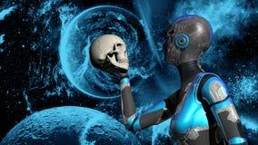 Android femelle futuriste dans l'espace lointain tenant le crâne humain illustration de vecteur