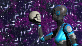Android femminile futuristico nello spazio profondo che tiene cranio umano Fotografie Stock