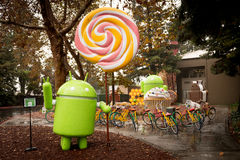Android figures on Google Campus Stock Image