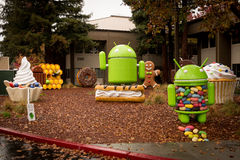 Android figures on Google Campus Royalty Free Stock Images