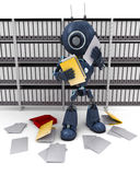 Android filing documents. 3D Render of an Android filing documents Royalty Free Stock Images