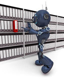 Android filing documents. 3D Render of an Android filing documents royalty free illustration