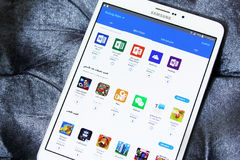 Android galaxy apps store on samsung tab s2 Royalty Free Stock Images