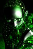 Android girl. With green circuts Royalty Free Stock Photography