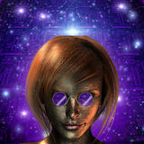 Android Girl. With Purple Glasses Royalty Free Stock Images