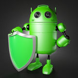 Android guard with shield. Technology protection cocept vector illustration