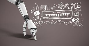 Android-hand die met muziek grafische tekeningen richt Royalty-vrije Stock Foto's