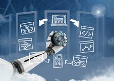 Android hand holding planet earth with screen computer drawings graphics Stock Image