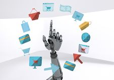 Android hand pointing with online shopping drawings graphics Royalty Free Stock Photo