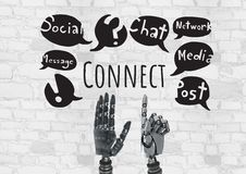 Android hands and Connect text with social media drawings graphics Stock Images
