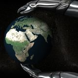 Android Hands Keep Earth Globe Safe 05 Royalty Free Stock Image