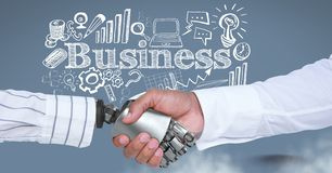 Android handshake and Businessman with business drawings graphics and text. Digital composite of Android handshake and Businessman with business drawings Stock Photography