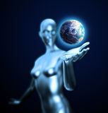Android holding Earth Royalty Free Stock Image