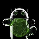 Android holding a glowing earth globe. Rendered on black background Royalty Free Stock Images