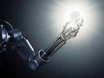 Android holding a lightbulb Royalty Free Stock Photo