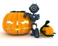 Android with holiday jack-o-lantern. 3D Render of an Android with holiday jack-o-lantern Stock Photo
