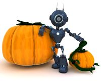 Android with holiday pumpkin. 3D Render of an Android with holiday pumpkin Stock Photo